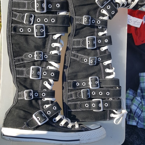 69d371a618d Converse Shoes - Knee High converse with buckles and straps